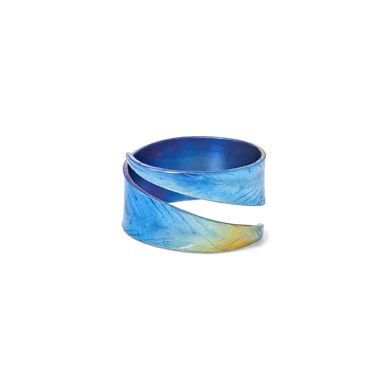 FlyInHome Синее кольцо-лист из титана