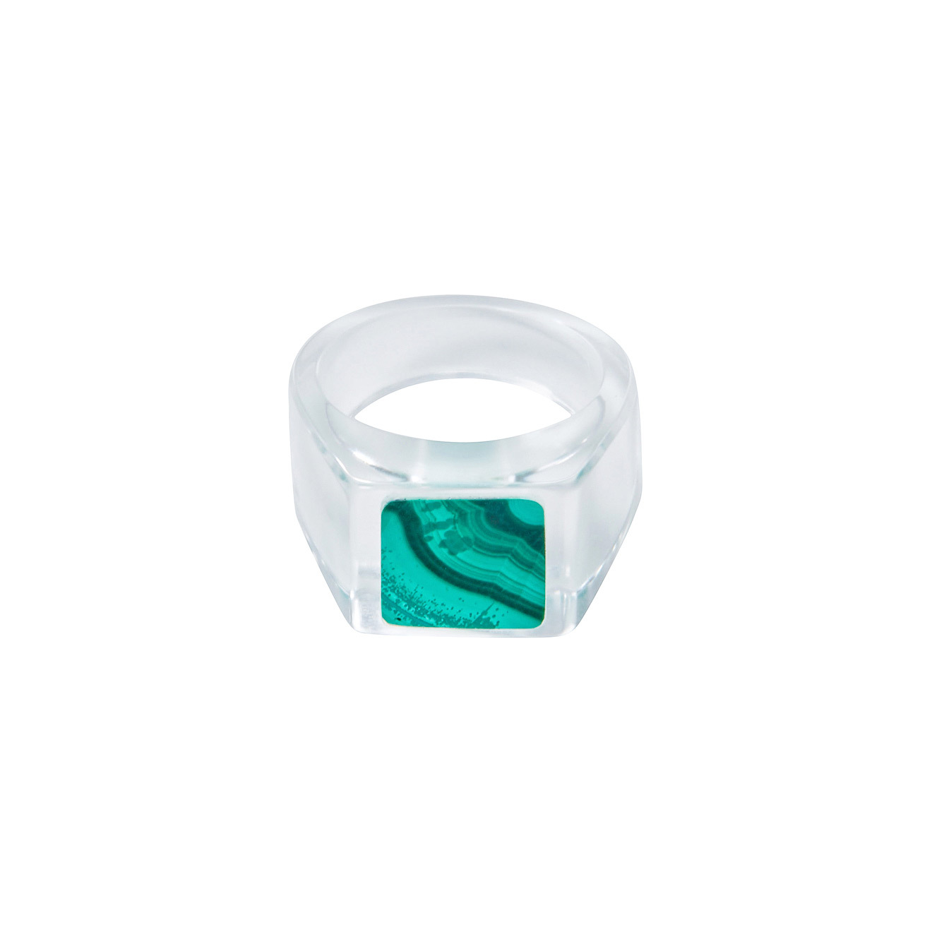 Moonswoon Квадратное кольцо-печатка из горного хрусталя с малахитом