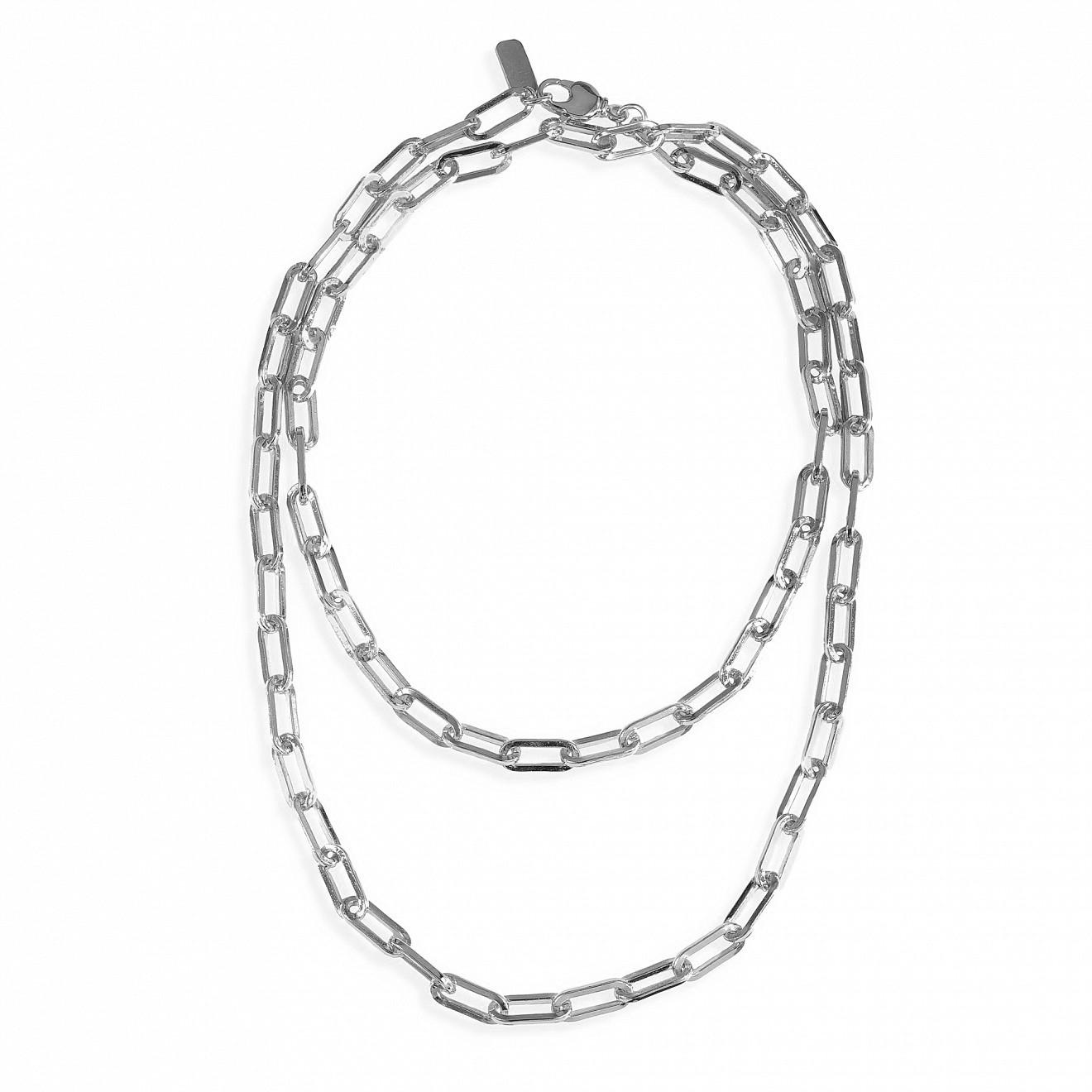 Ringstone Длинное серебристое колье-цепь