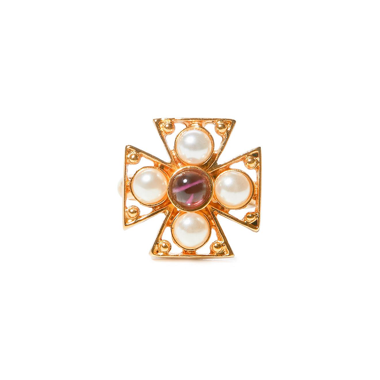 Ben Amun Золотистое кольцо-крест с жемчугом