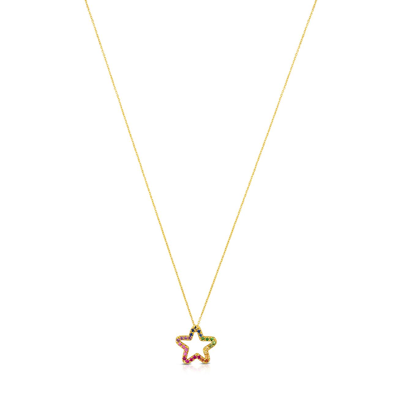 Фото - TOUS Ожерелье Icon из желтого золота со звездой и полудрагоценными камнями серьги с полудрагоценными камнями