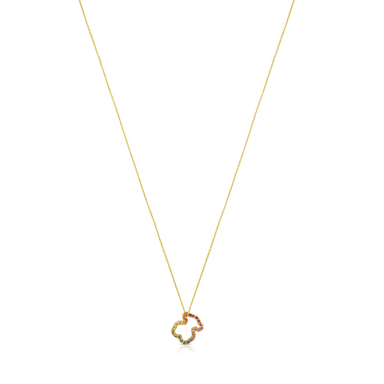 Фото - TOUS Ожерелье Icon из желтого золота с полудрагоценными камнями серьги с полудрагоценными камнями