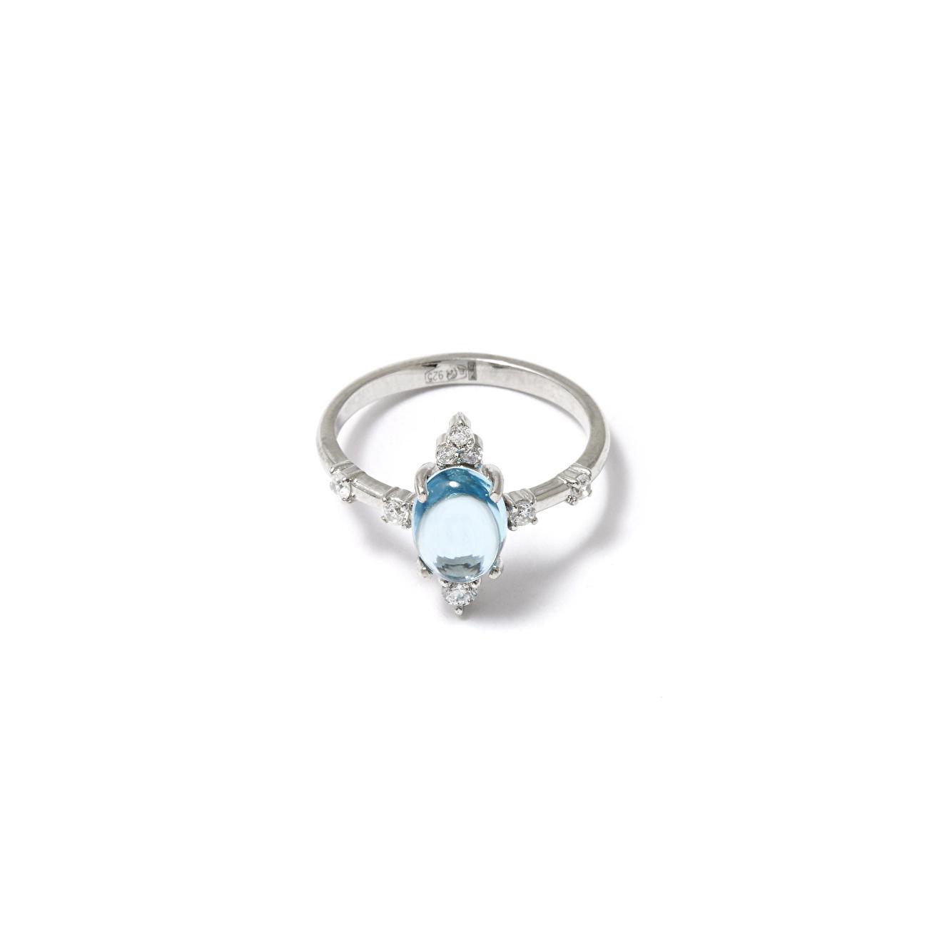Moonka studio Серебряное кольцо с голубым топазом
