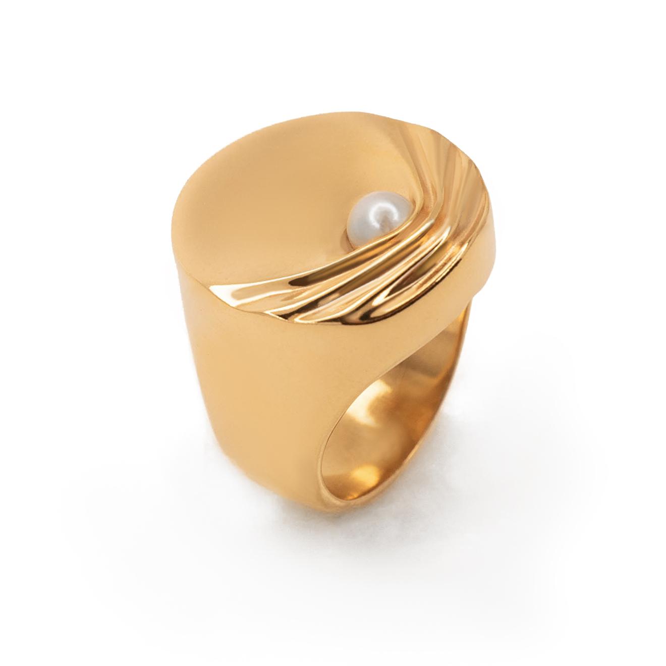 Fjord Позолоченное кольцо-печатка Gravity из серебра с жемчугом
