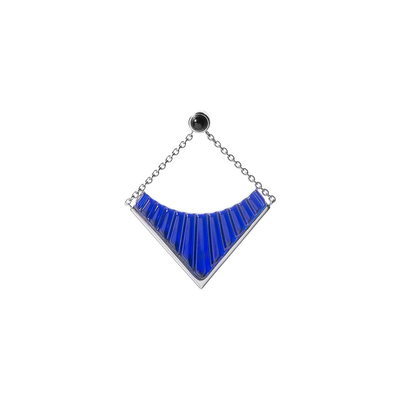 Lalique Покрытая серебром моносерьга с вставкой из синего стекла