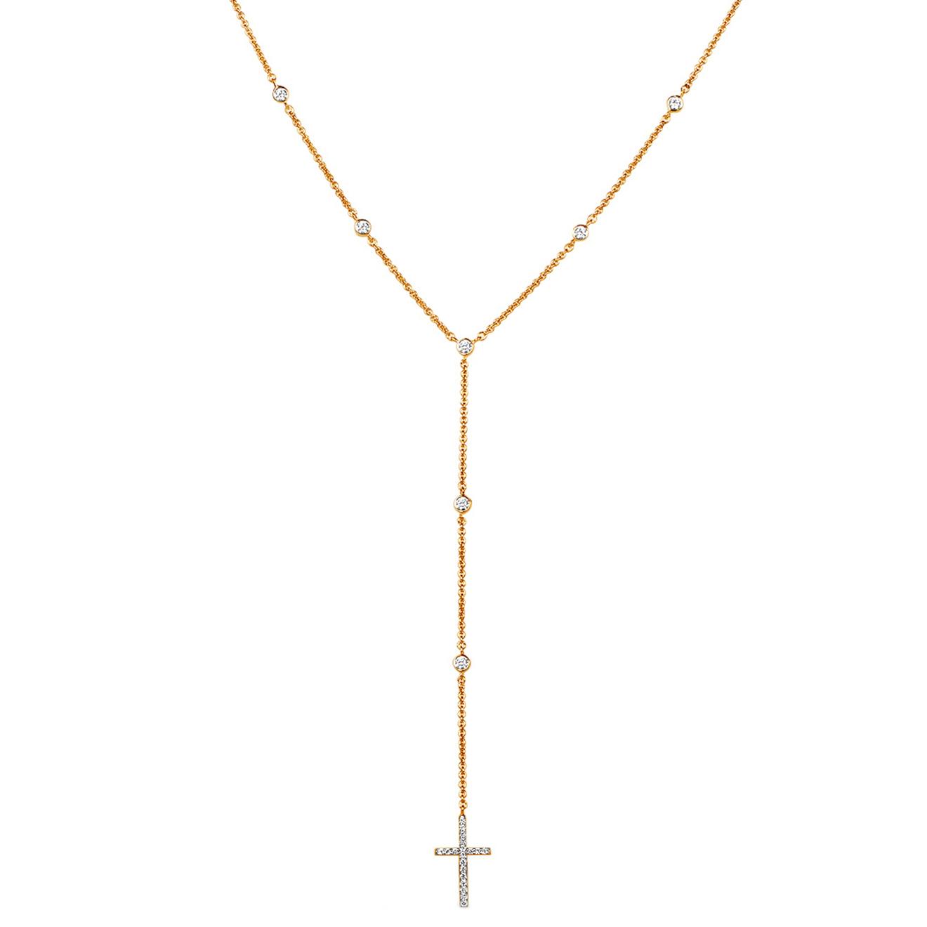 LAVZ Позолоченное колье с крестом Long Drop, из коллекции Crosses