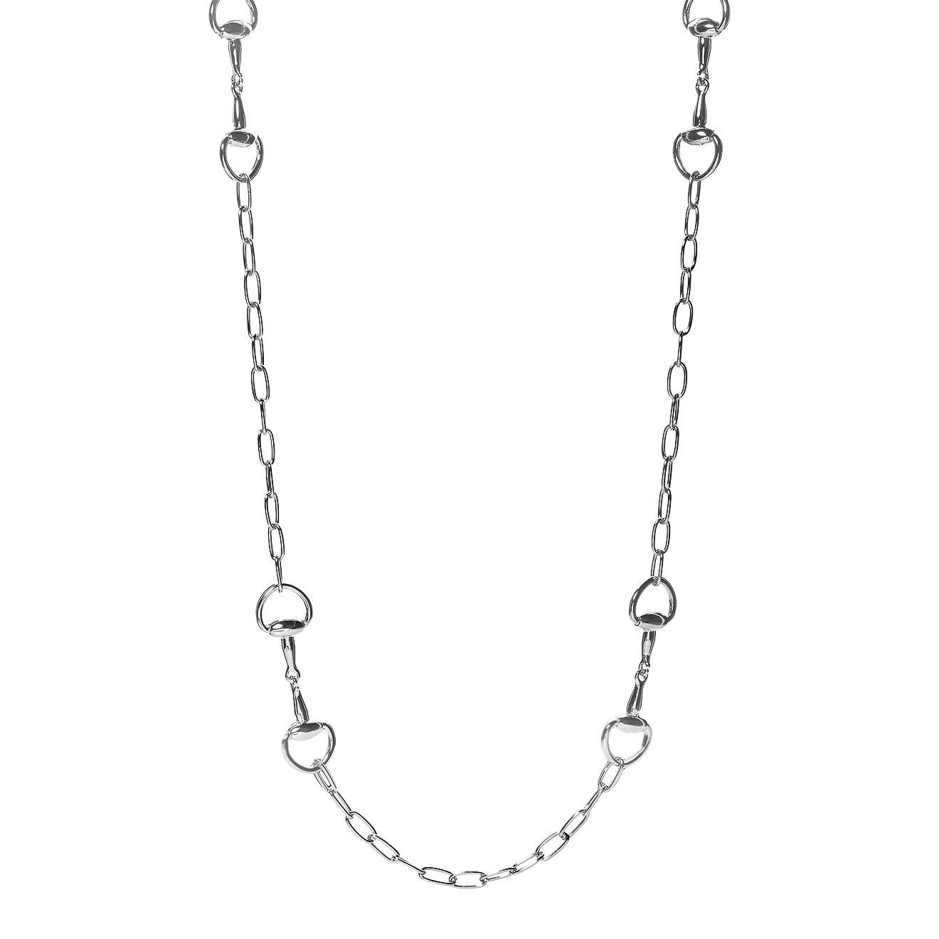 Lisa Smith Длинное серебристое колье-цепь