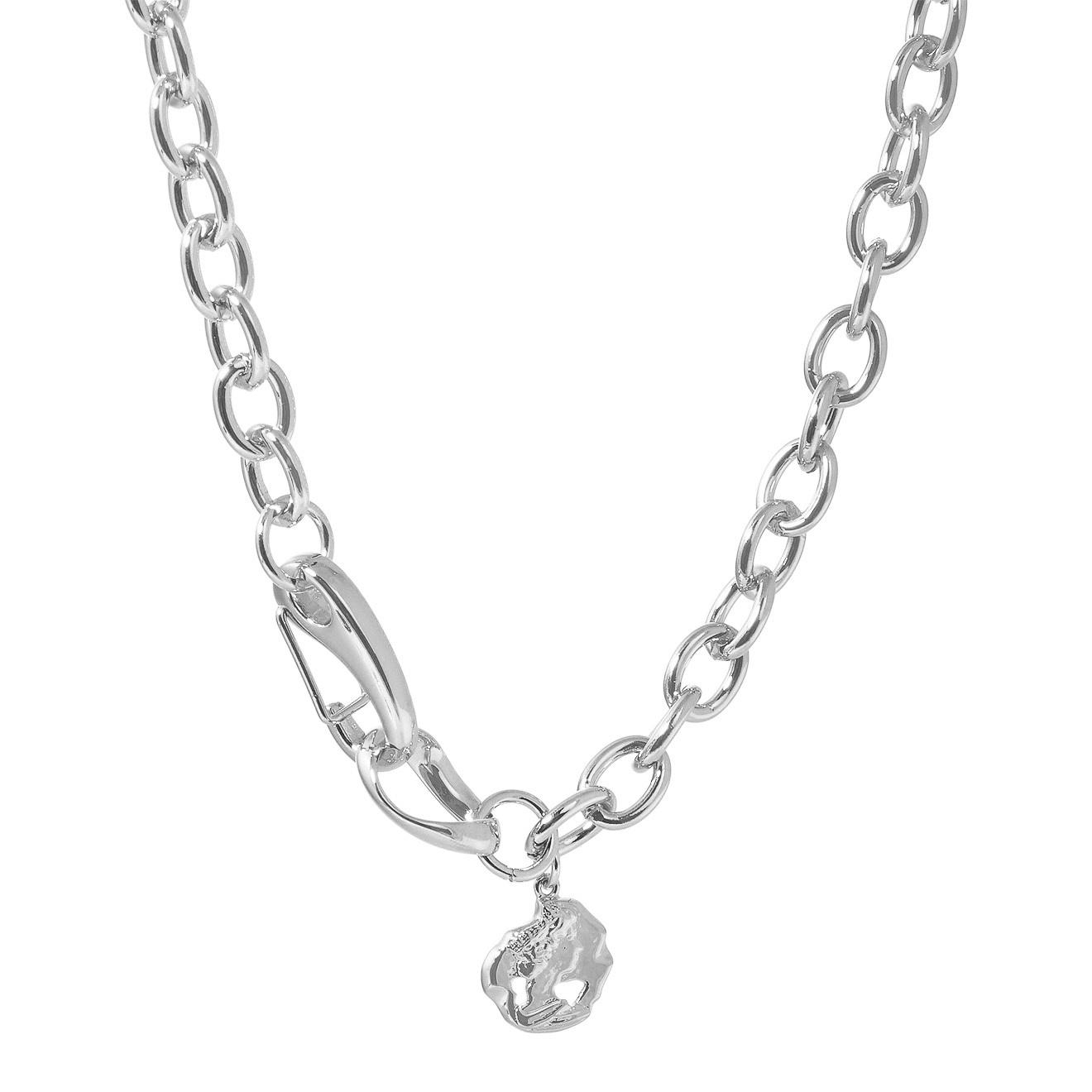 Lisa Smith Серебристое колье-цепь с медальоном