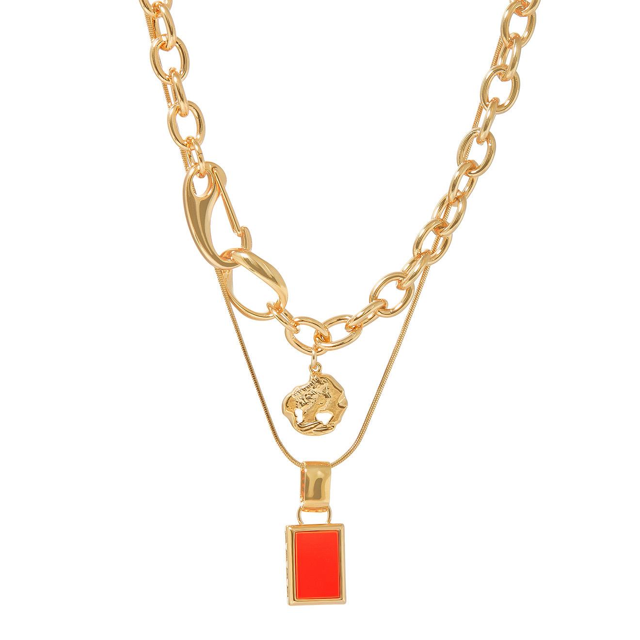 Lisa Smith Двойное золотистое колье-цепь с красной подвеской недорого