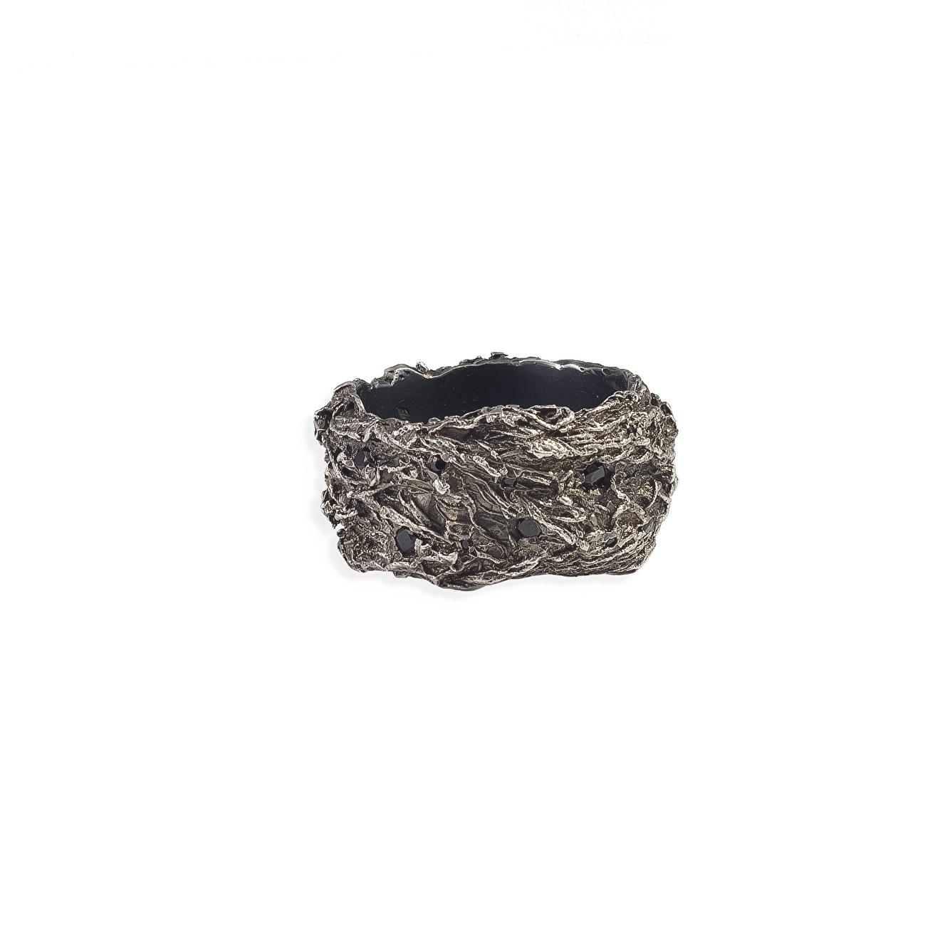 OSSA Широкое кольцо из серебра с черной шпинелью