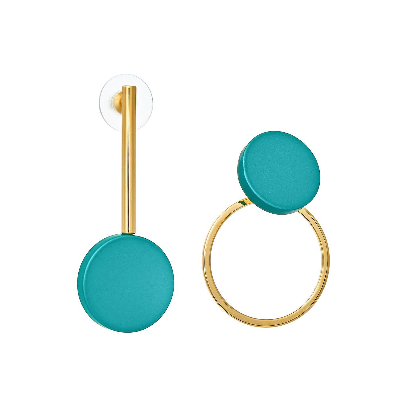 Nuance Золотистые асимметричные серьги с зелеными кругами недорого