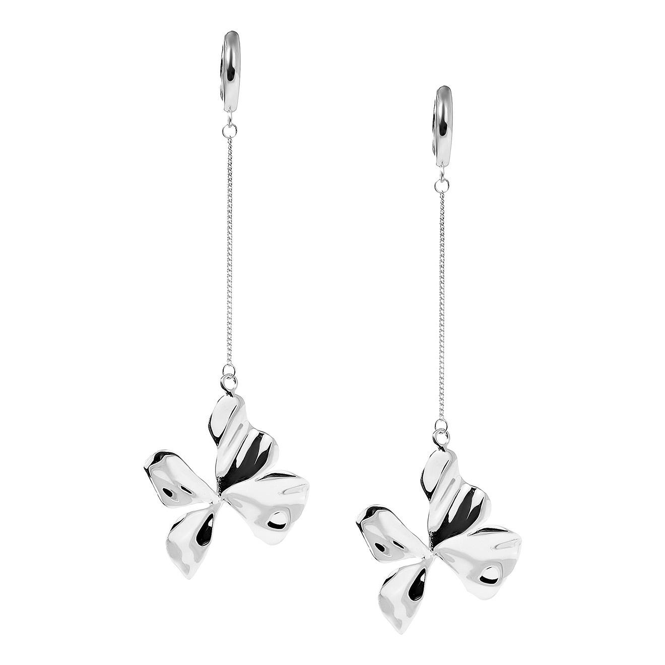 серебряные длинные серьги с узорами Nastya Maximova Серебряные серьги с подвесками-цветами