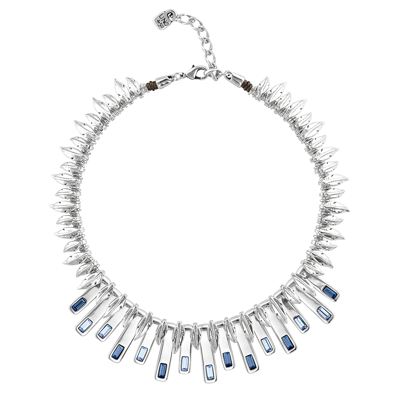 Unode50 Колье «Little Nightbird» с синими кристаллами, покрытое серебром