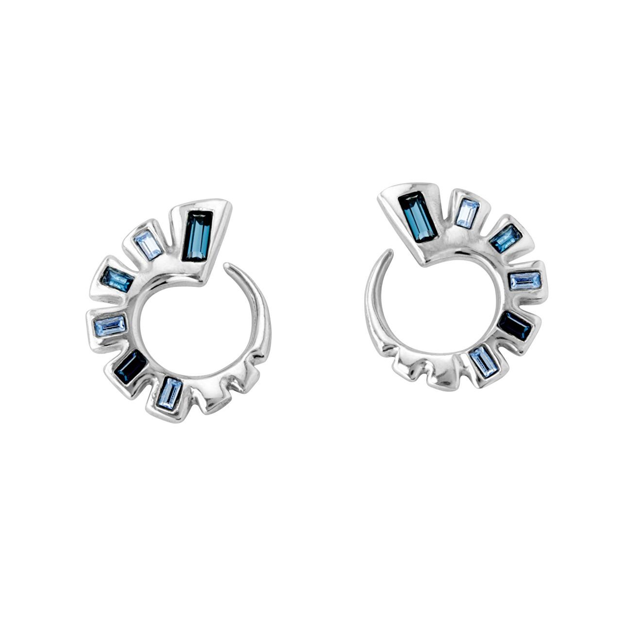 Unode50 Серьги «Nightbird wrap» с синими кристаллами, покрытые серебром недорого