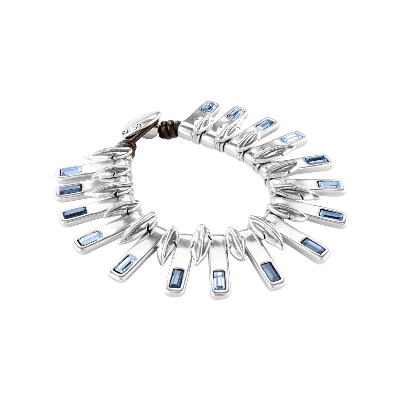 Unode50 Браслет «Nightbird» с синими кристаллами, покрытый серебром