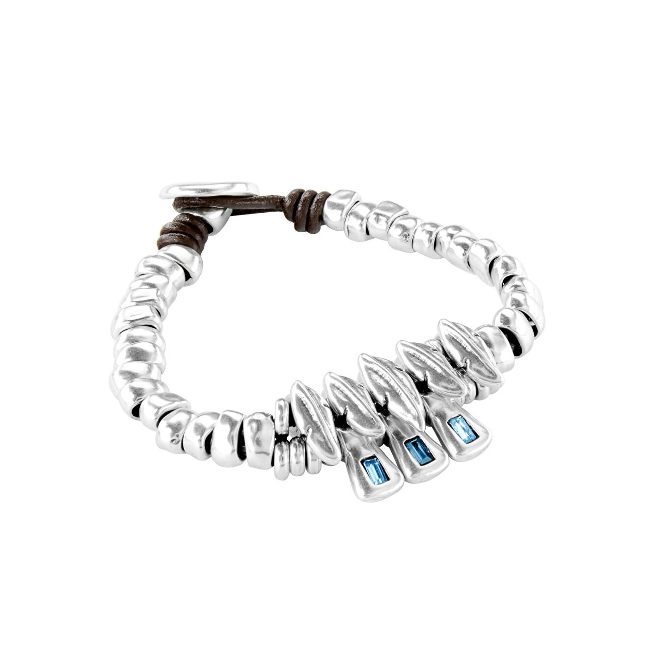 Unode50 Браслет «Sparks fly» с синими кристаллами, покрытый серебром