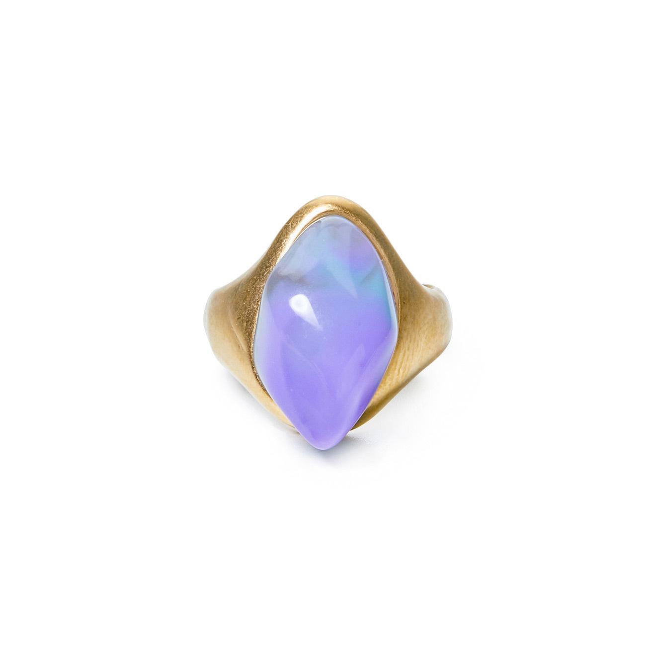 Herald Percy Золотистое кольцо с сиреневым камнем