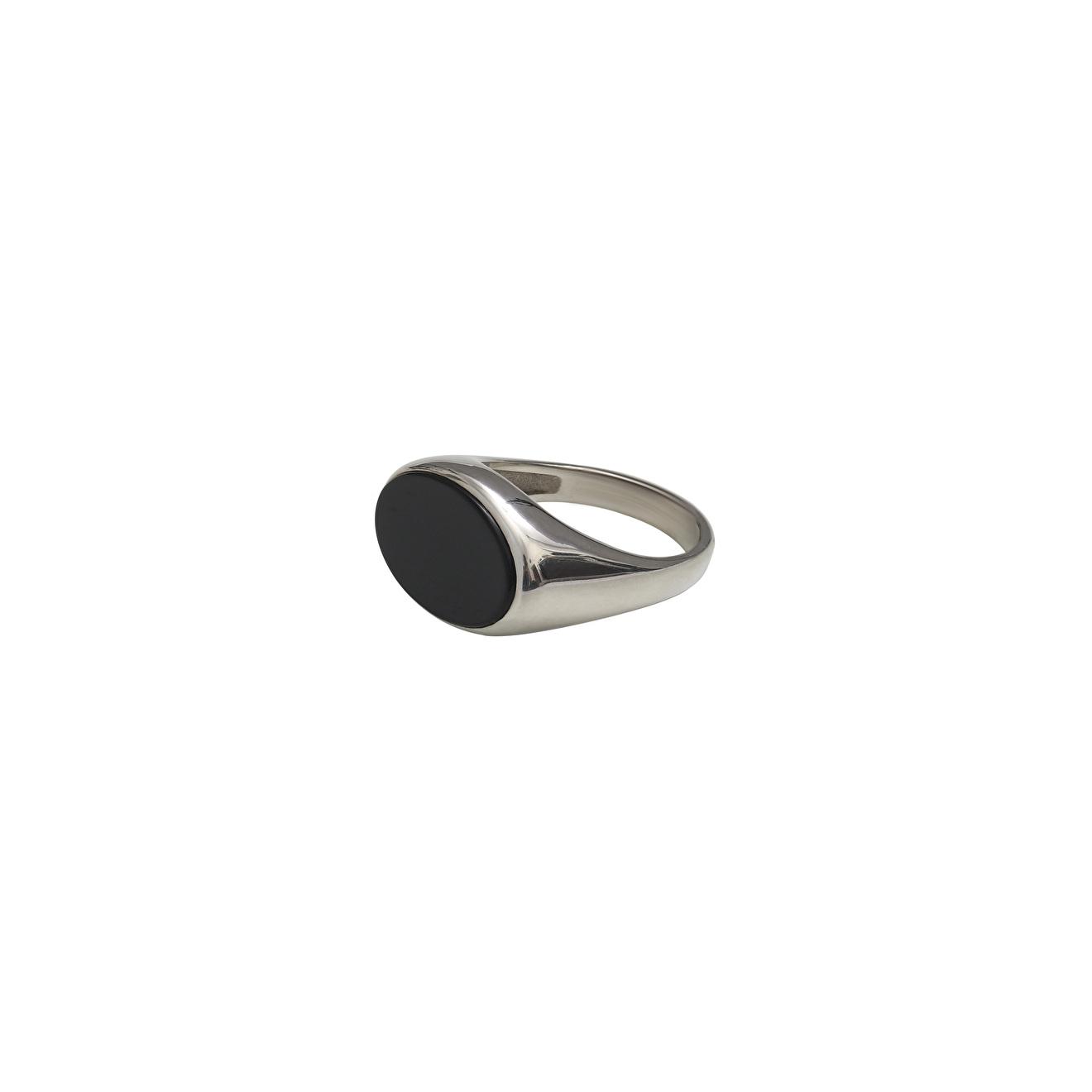 Ringstone Кольцо-печатка из серебра с черным агатом