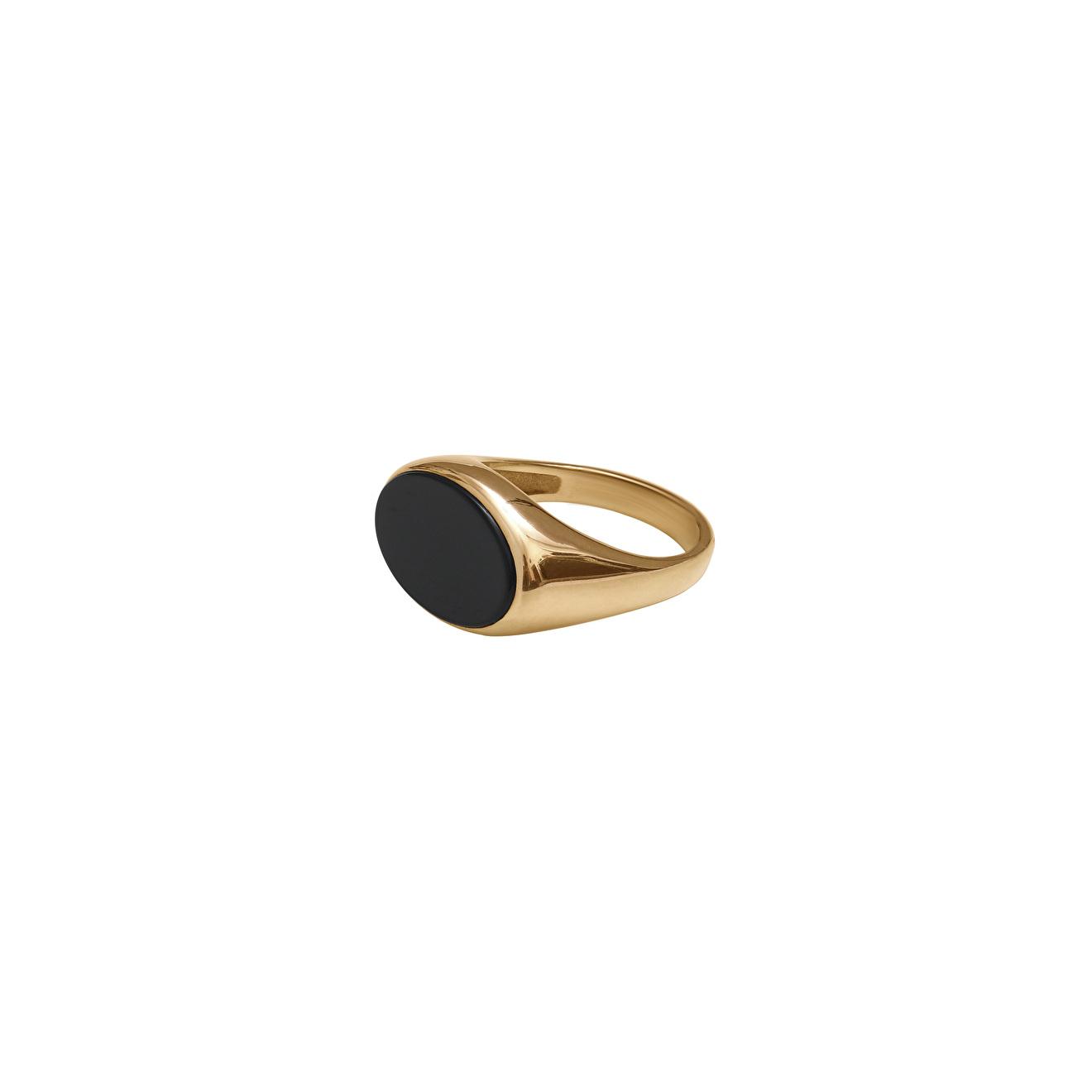 Ringstone Позолоченное кольцо-печатка из серебра с черным агатом