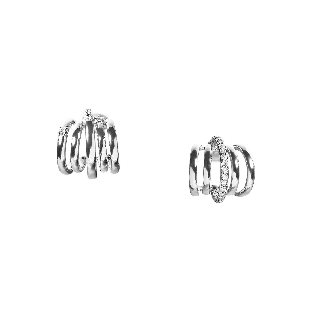 Herald Percy Серебристые асимметричные пусеты-пружины с кристаллами