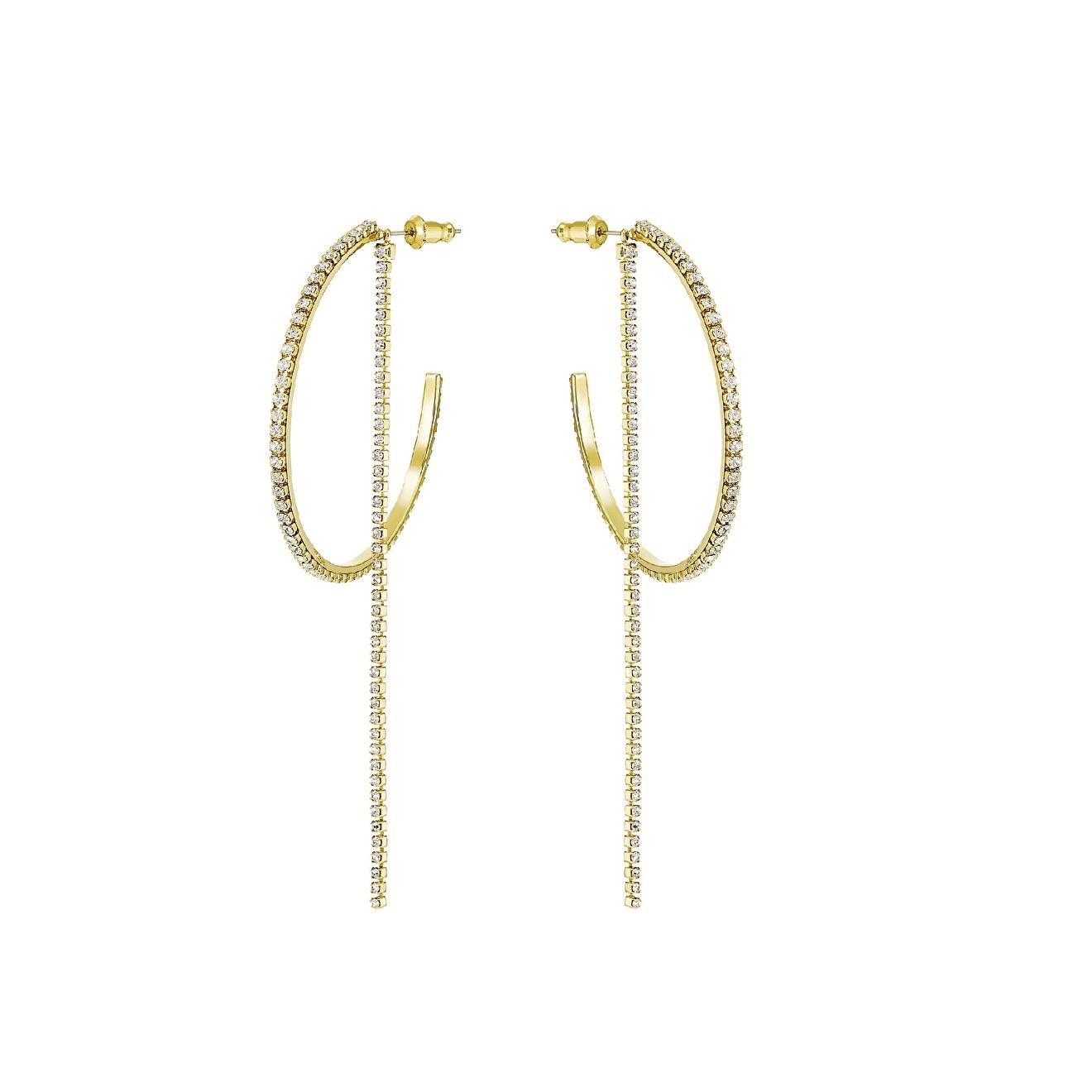 Swarovski Большие позолоченные серьги-кольца FIT кольца swarovski 5424994