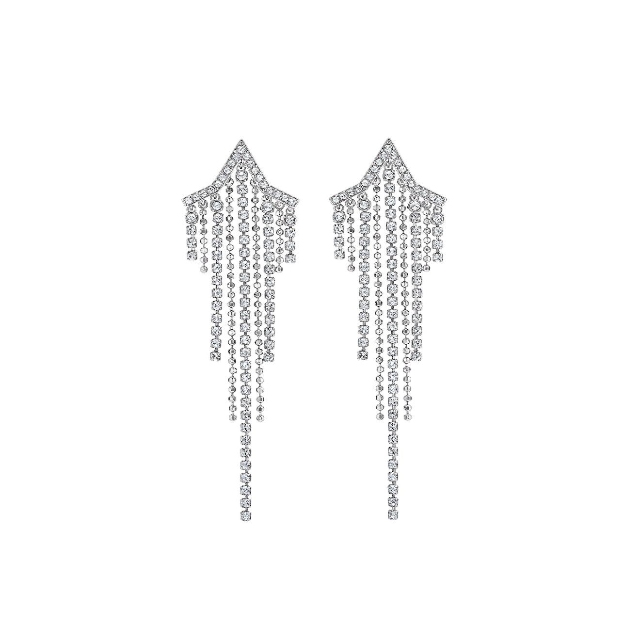 Swarovski Серебристые серьги-шандельеры FIT
