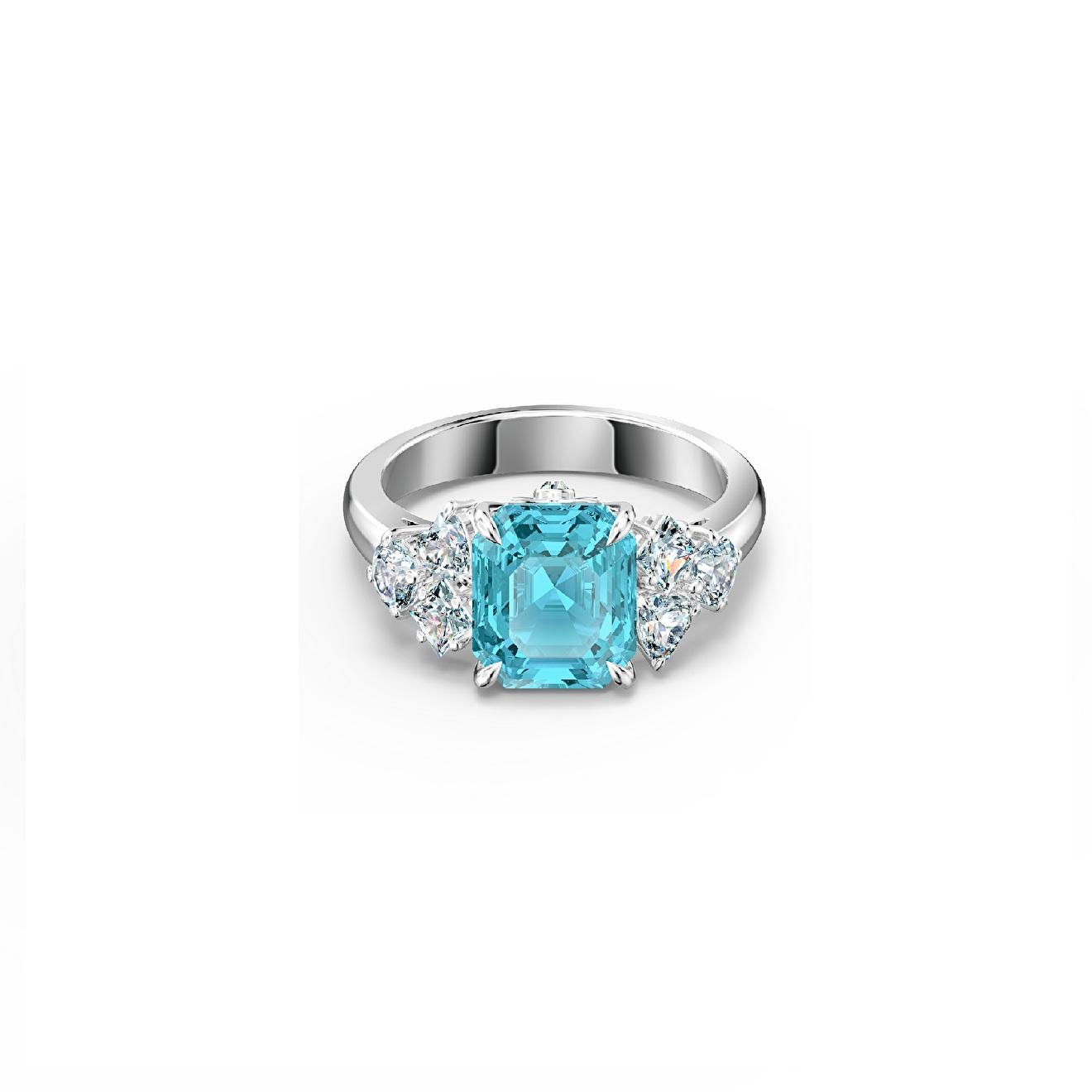 Swarovski Серебристое кольцо SPARKLING с голубым кристаллом