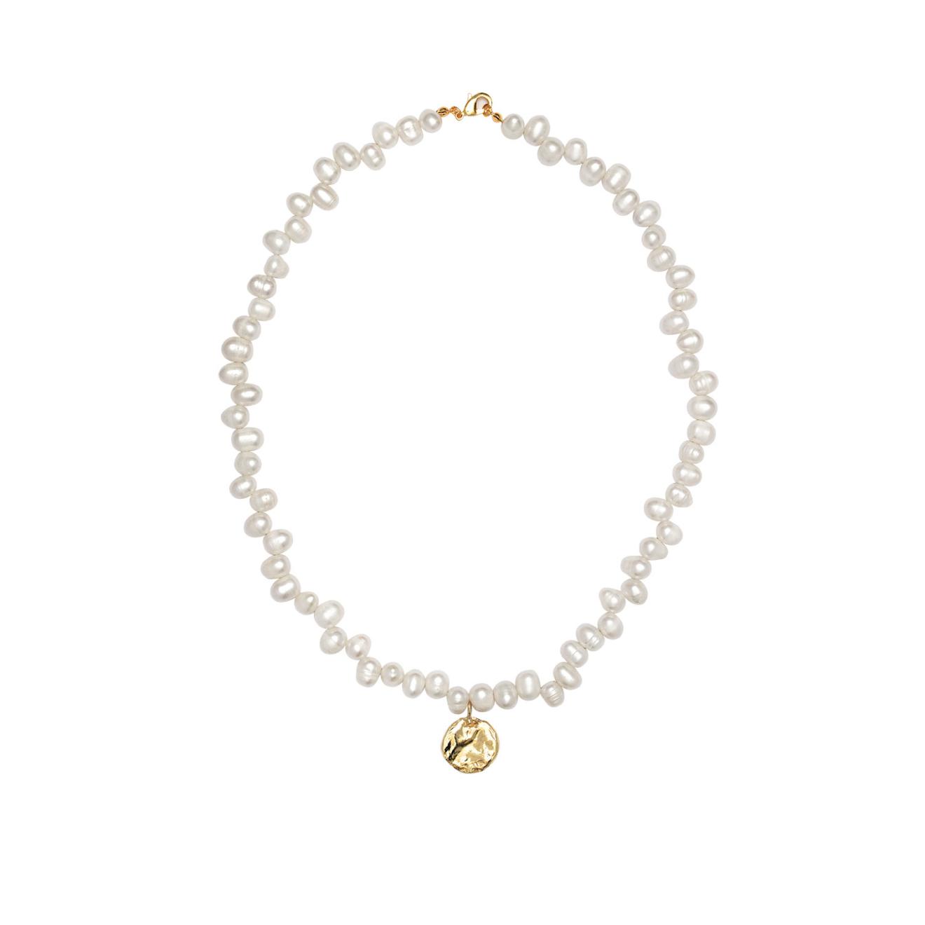 Фото - Ringstone Позолоченное жемчужное ожерелье из серебра с медальоном ringstone жемчужное ожерелье с буквой s ringstone