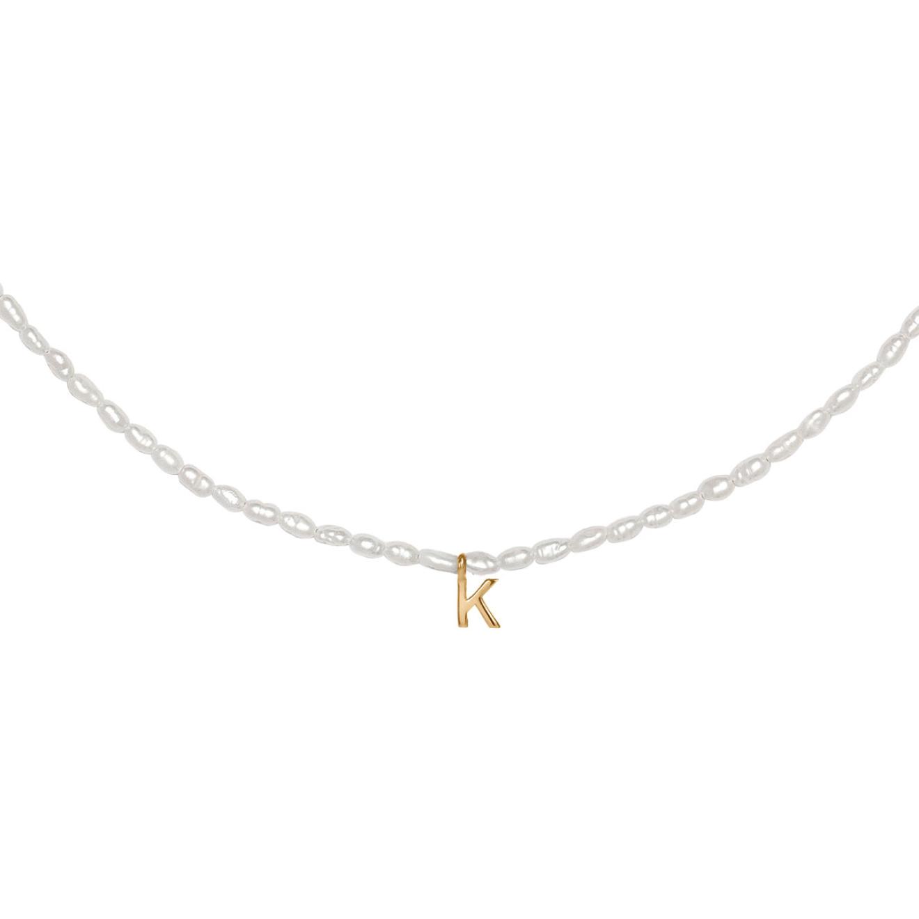 Фото - Ringstone Жемчужное ожерелье из серебра с позолоченной буквой K ringstone жемчужное ожерелье с буквой s ringstone