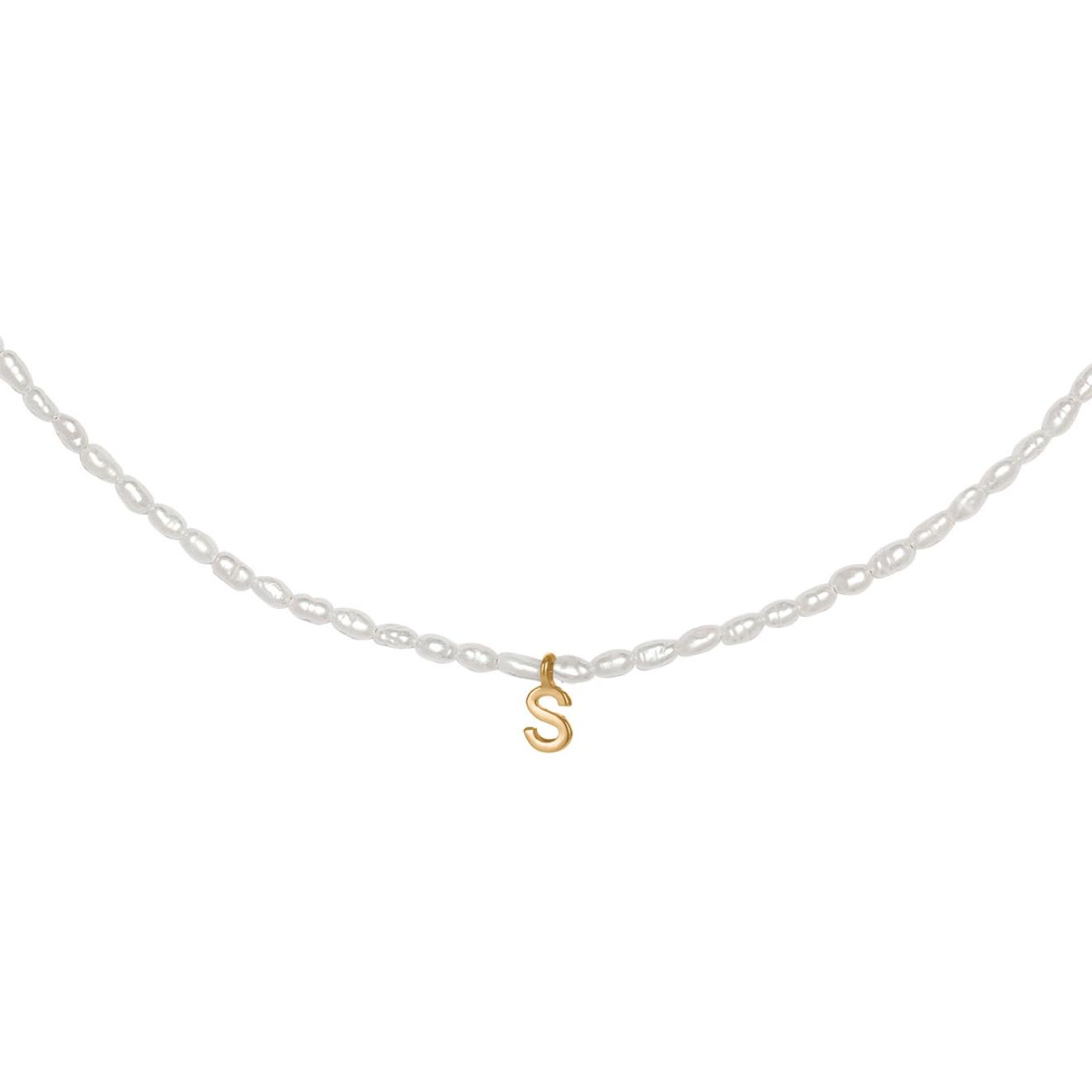 Фото - Ringstone Жемчужное ожерелье из серебра с позолоченной буквой S ringstone жемчужное ожерелье с буквой s ringstone