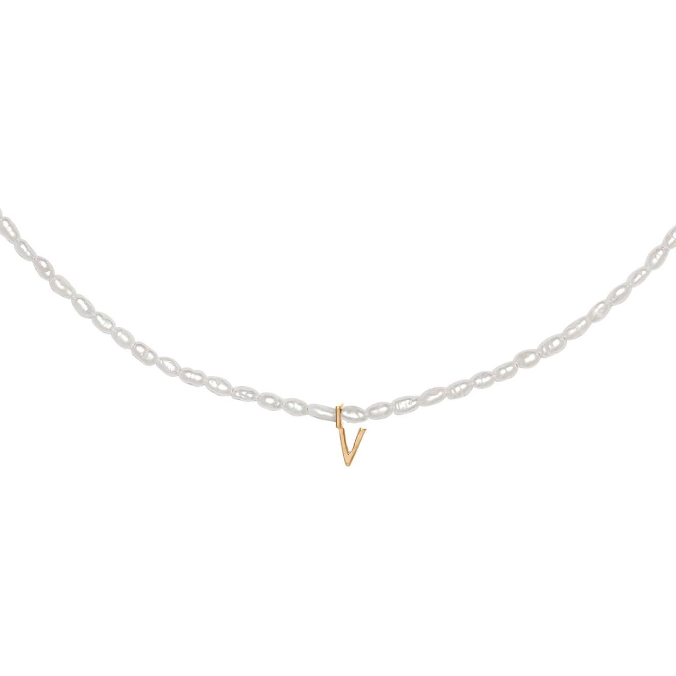 Фото - Ringstone Жемчужное ожерелье из серебра с позолоченной буквой V ringstone жемчужное ожерелье с буквой s ringstone