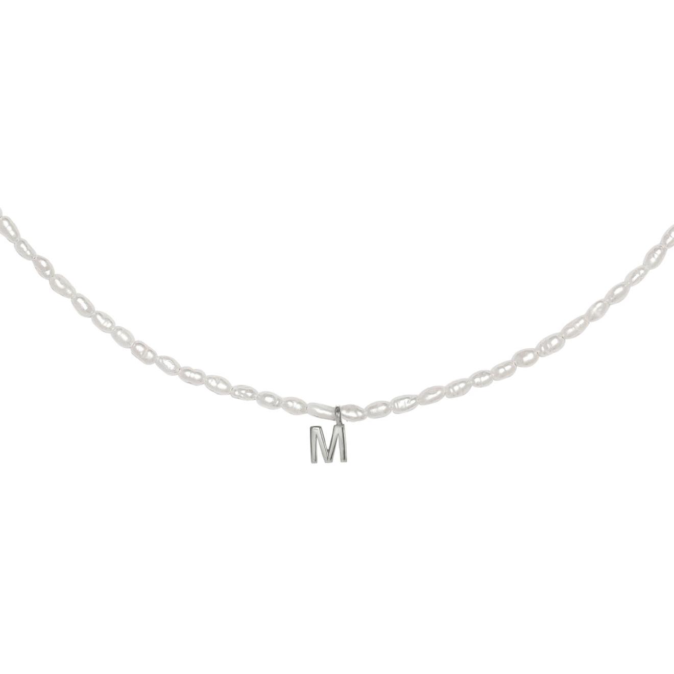 Фото - Ringstone Жемчужное ожерелье из серебра с буквой M ringstone жемчужное ожерелье с буквой s ringstone