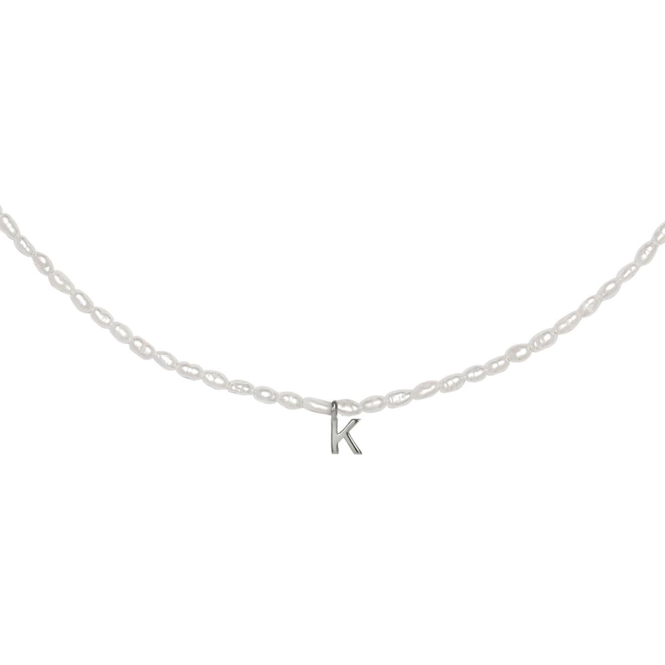 Фото - Ringstone Жемчужное ожерелье из серебра с буквой K ringstone жемчужное ожерелье с буквой s ringstone