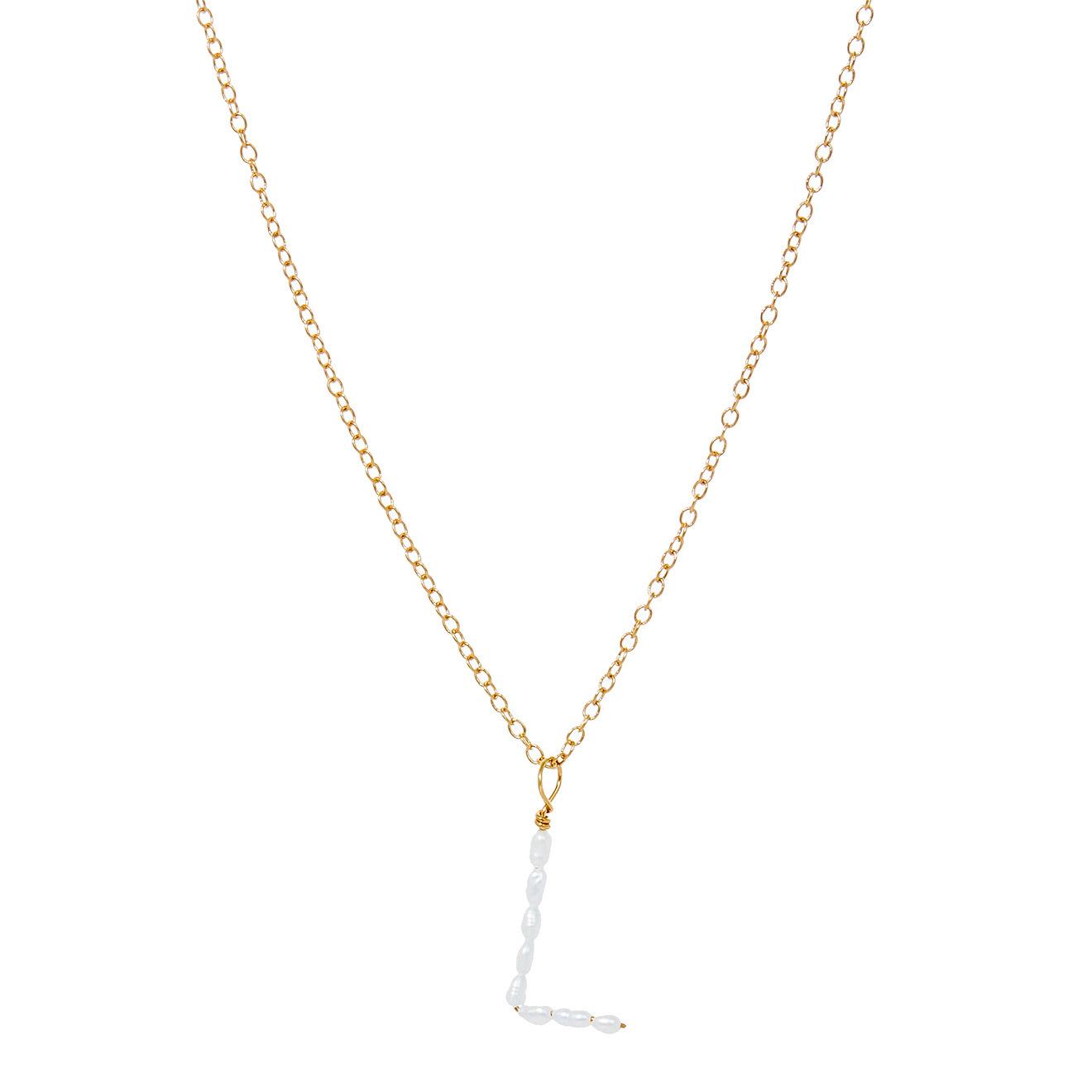 Ringstone Позолоченная жемчужная подвеска из серебра с буквой L