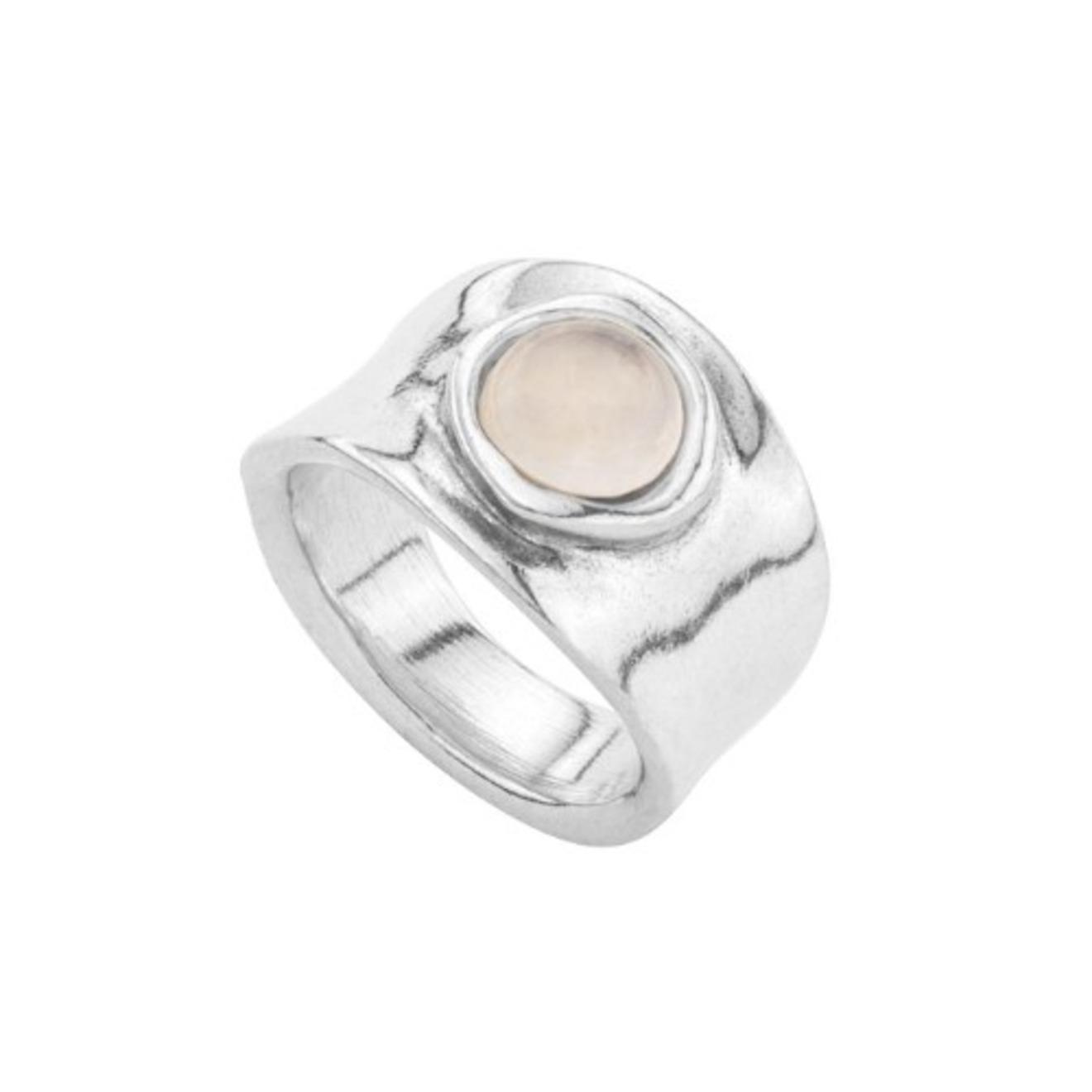 Unode50 Серебристое кольцо «My talisman» с розовым кристаллом, из коллекции My luck