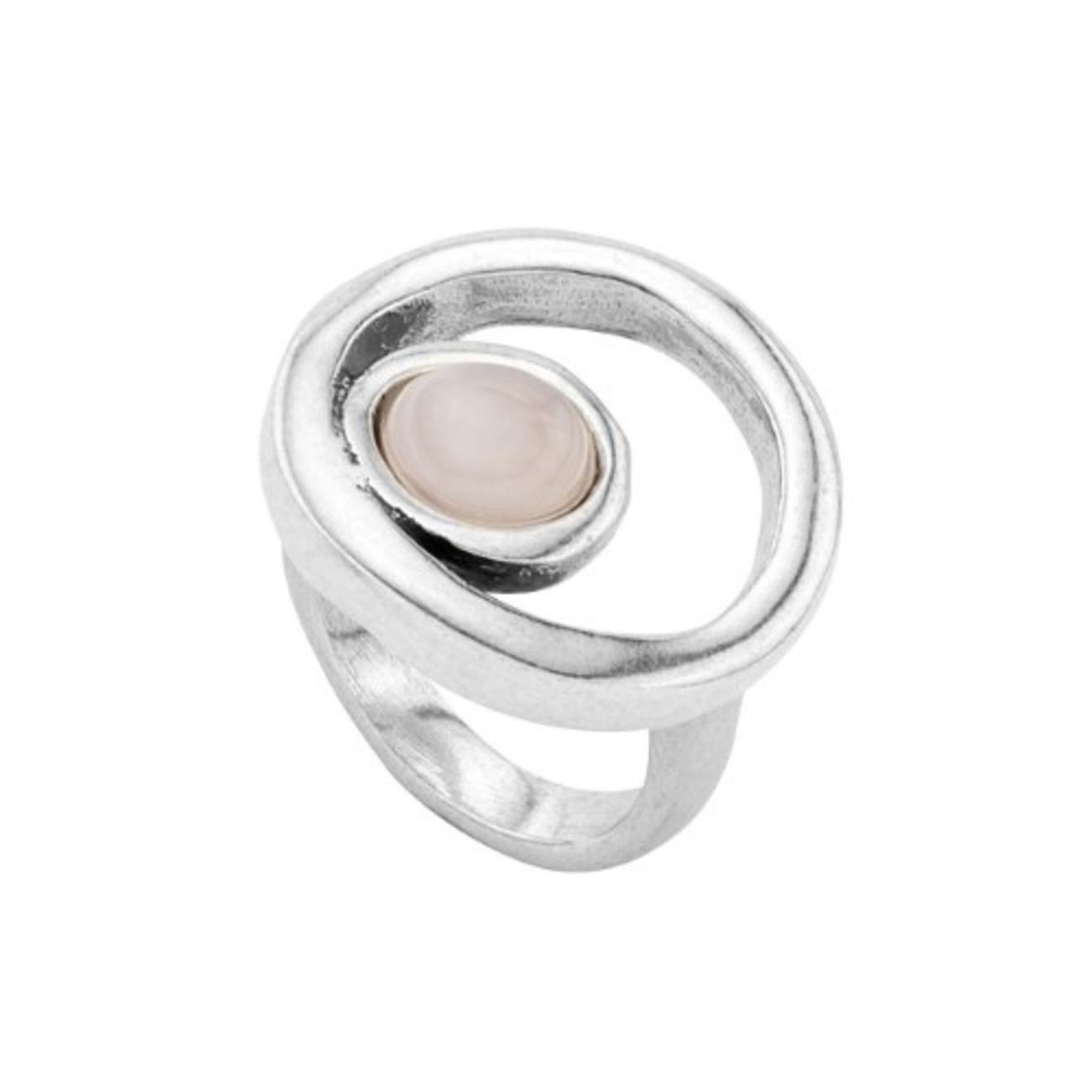 Unode50 Серебристое кольцо «Make a wish» с розовым кристаллом, из коллекции My luck