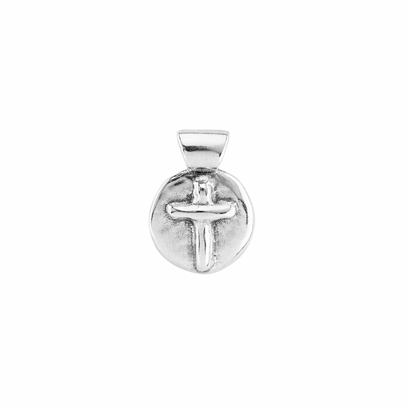 Unode50 Покрытый серебром круглый шарм с крестом Cross