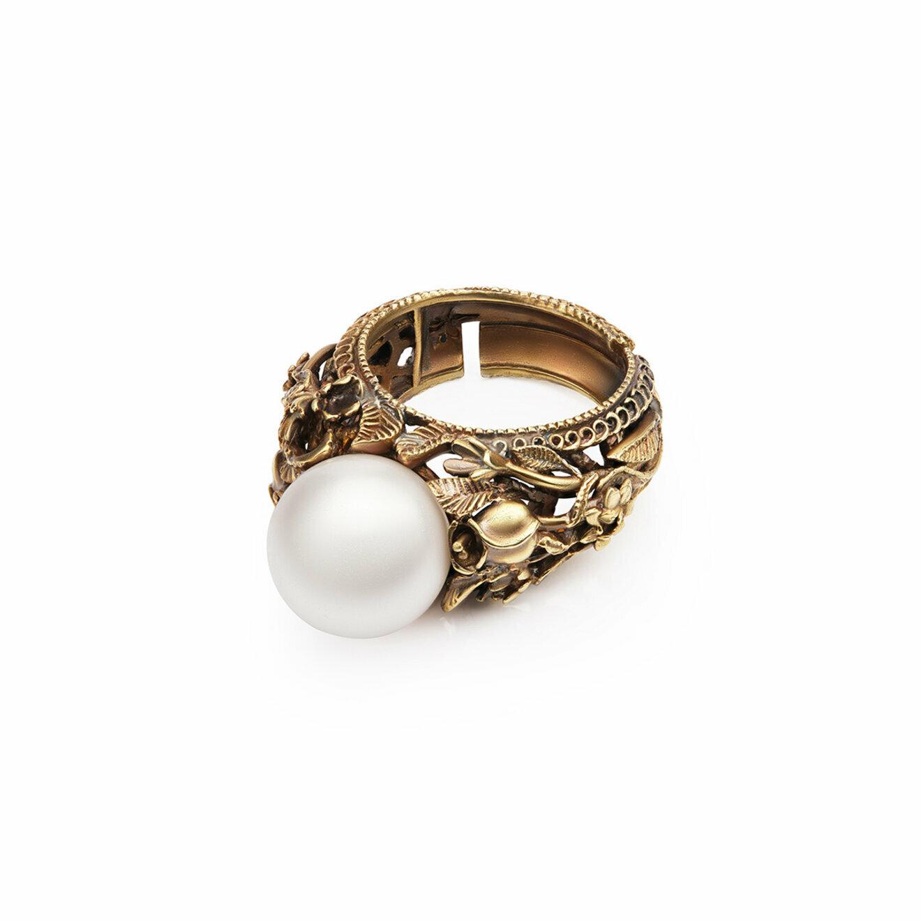 di Fiore di Firenze Позолоченное кольцо Mazzo di fiori с жемчугом