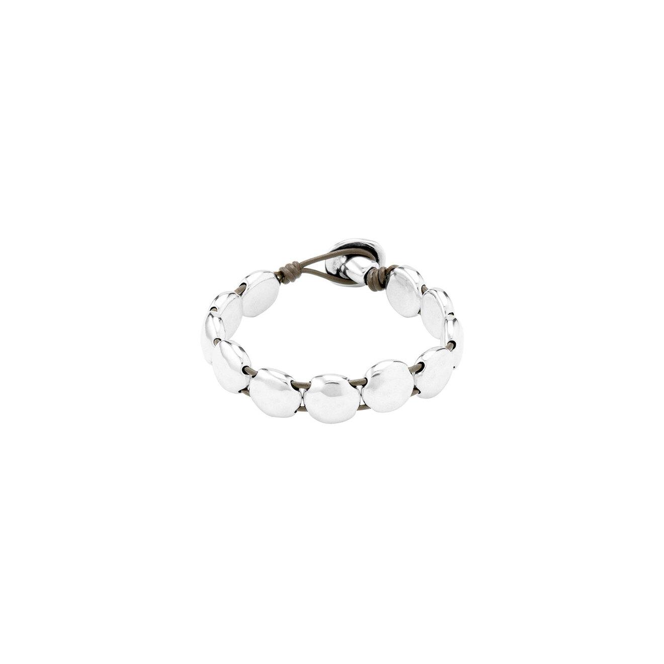 Unode50 Покрытый серебром браслет с натуральной кожей Loading