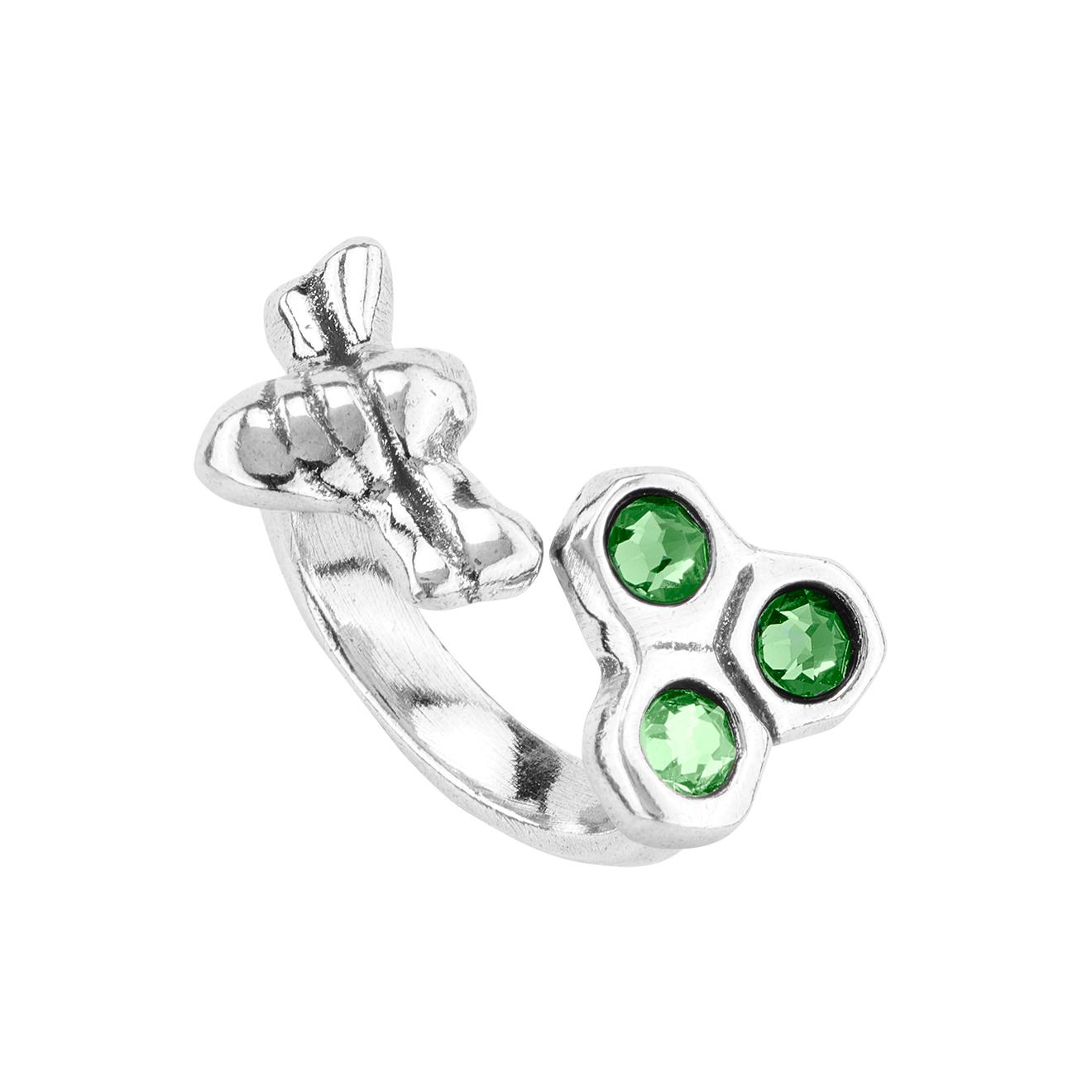 Unode50 Кольцо с кристаллами «Bzz», покрытое серебром
