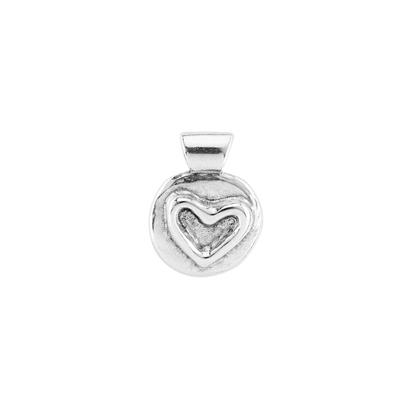 Unode50 Покрытый серебром круглый шарм с сердцем Heart