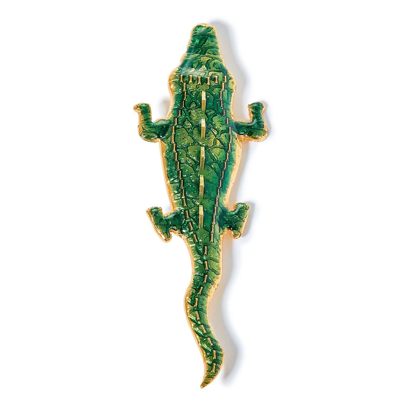 Natia x Lako Зеленая брошь-крокодил