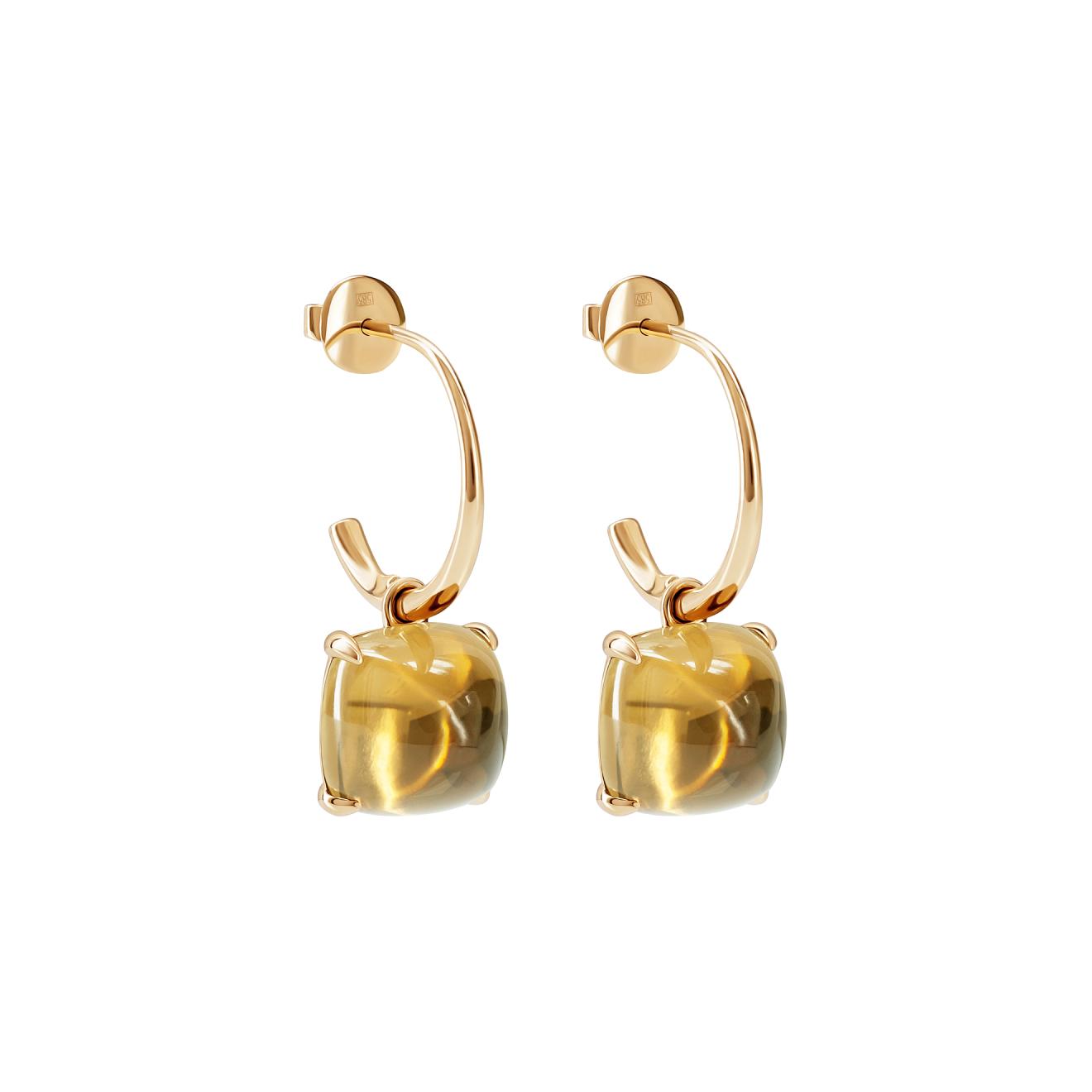 Leonie Jewelry Серьги из золота Kisses Maxi с цитрином