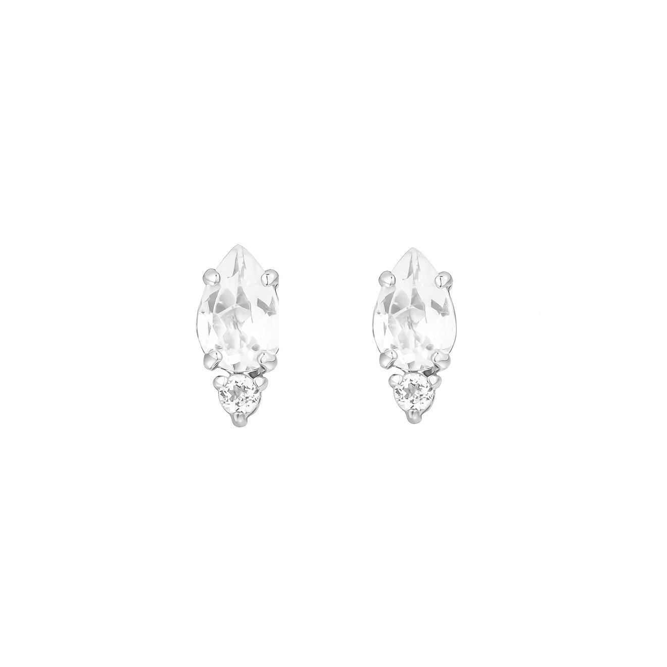 Moonka studio Серьги-пусеты из серебра с белым топазом