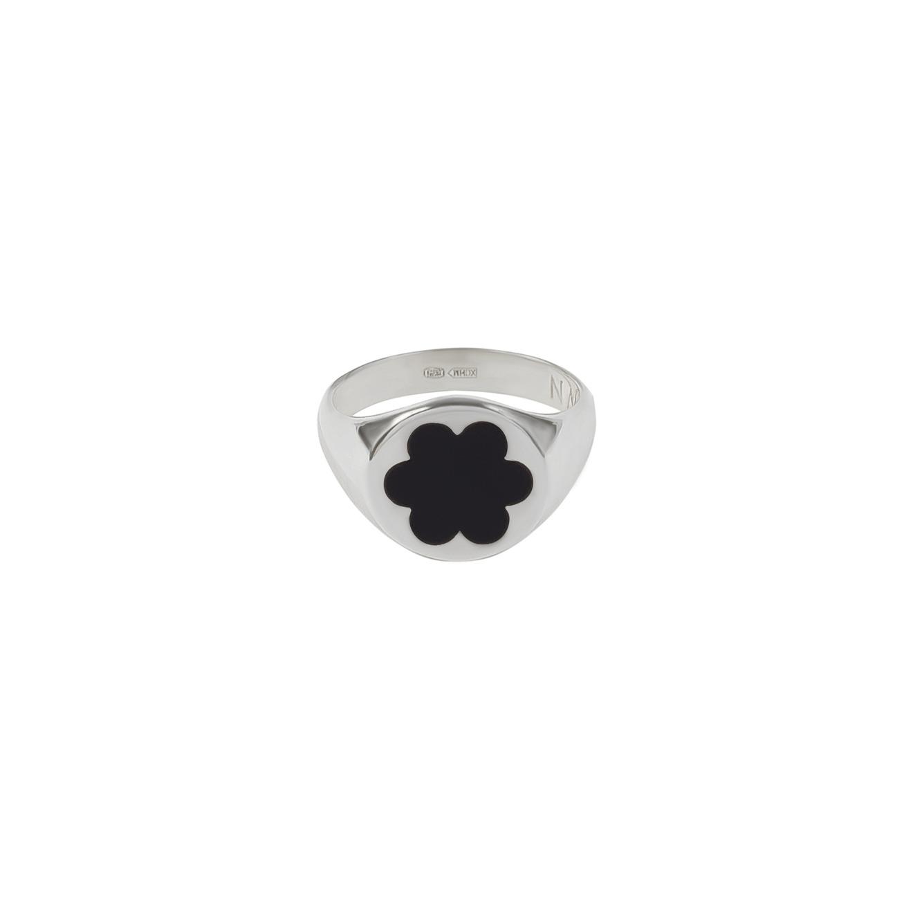 Moonswoon Кольцо-печатка из серебра с эмалью Незабудка Черная