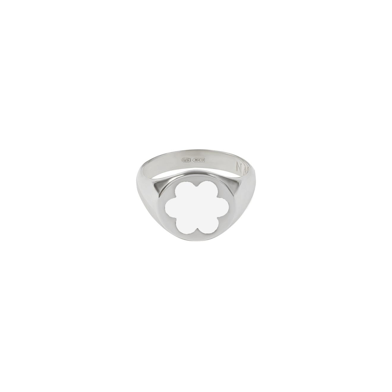 Moonswoon Кольцо-печатка из серебра с эмалью Незабудка Белая