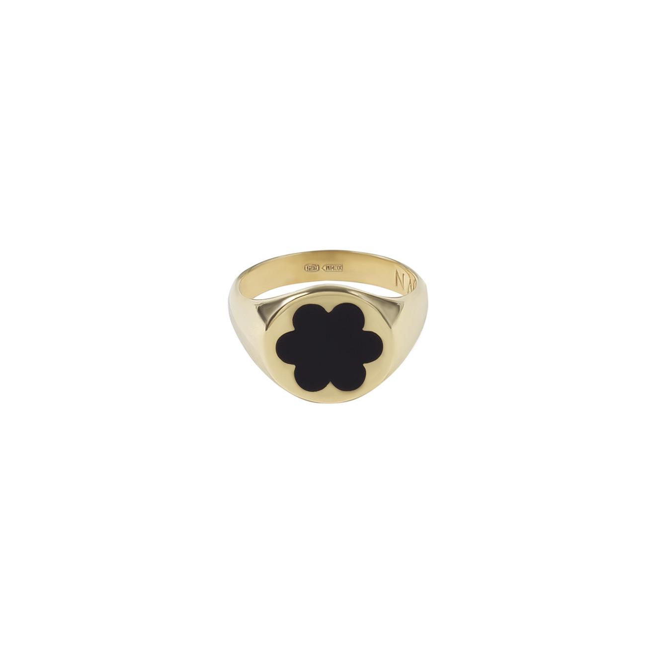 Moonswoon Позолоченное кольцо-печатка из серебра с эмалью Незабудка Черная