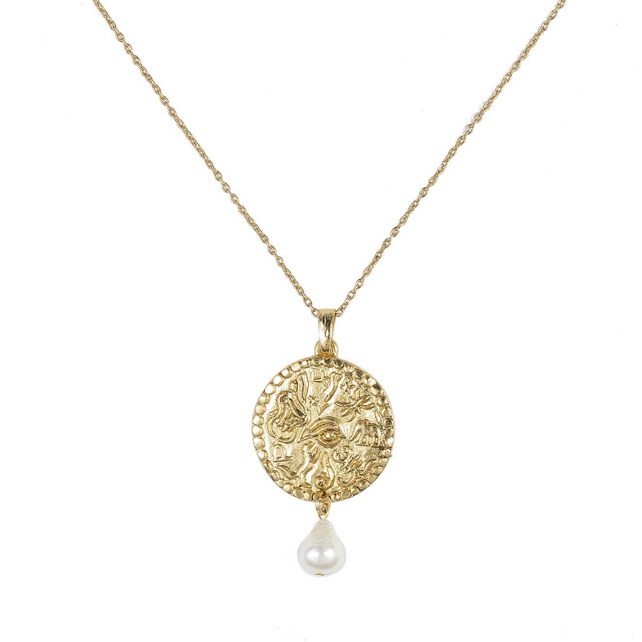 Oscar de la Renta Золотистое колье с медальоном-монетой и жемчугом