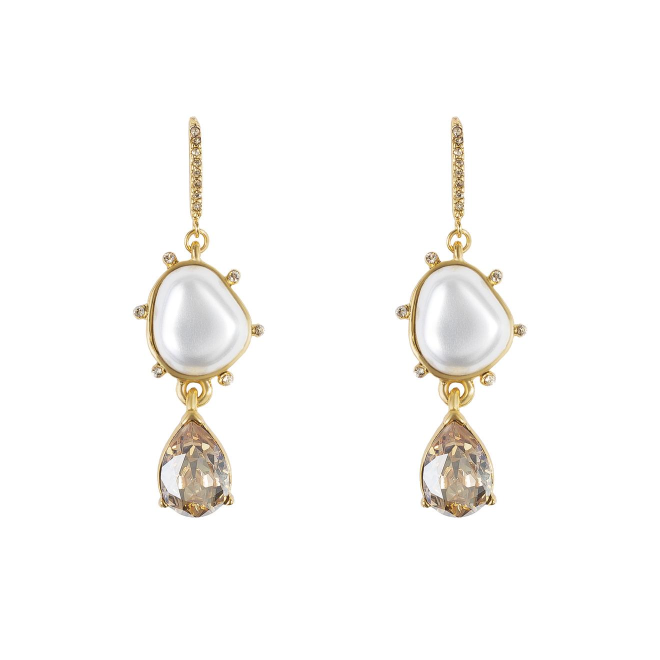 Oscar de la Renta Золотистые серьги с барочным жемчугом и кристаллами