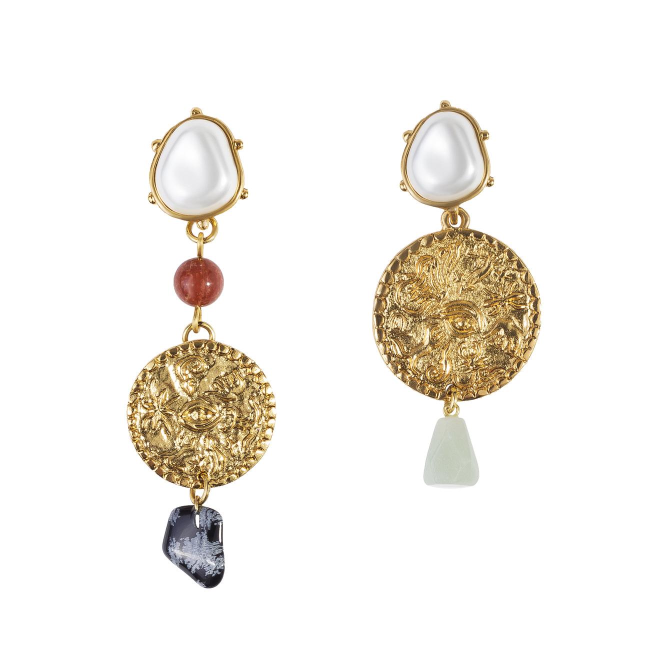 Oscar de la Renta Золотистые асимметричные клипсы-монеты с жемчугом и полудрагоценным камнем